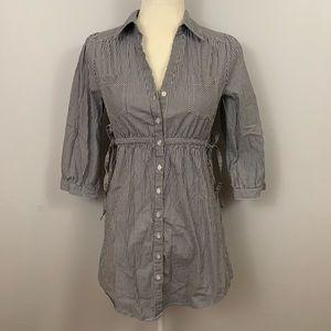 H&M Gray White Stripe Button Tunic Shirt Dress